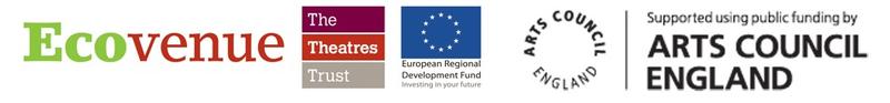 Energising Culture funder logos: Ecovenue, Theatres Trust, European Regional Development Fund, Arts Council England
