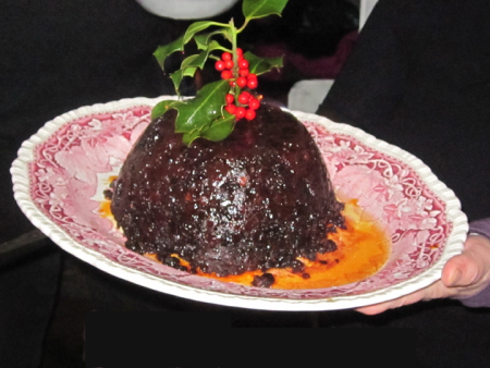 Japanese do seem to be obsessed by food  endlessly photographing  their meals and we have been  asked to take photos of what we  eat in our Northern countries. This is my Fruitarian Christmas  pudding awash with Brandy. I think the Kitakata speciality is noodles!""